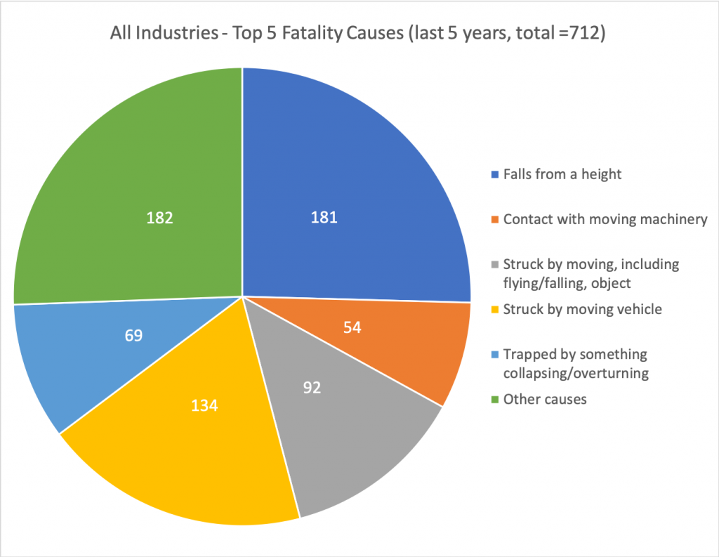 pie chart showing causes of UK fatality worker injuries
